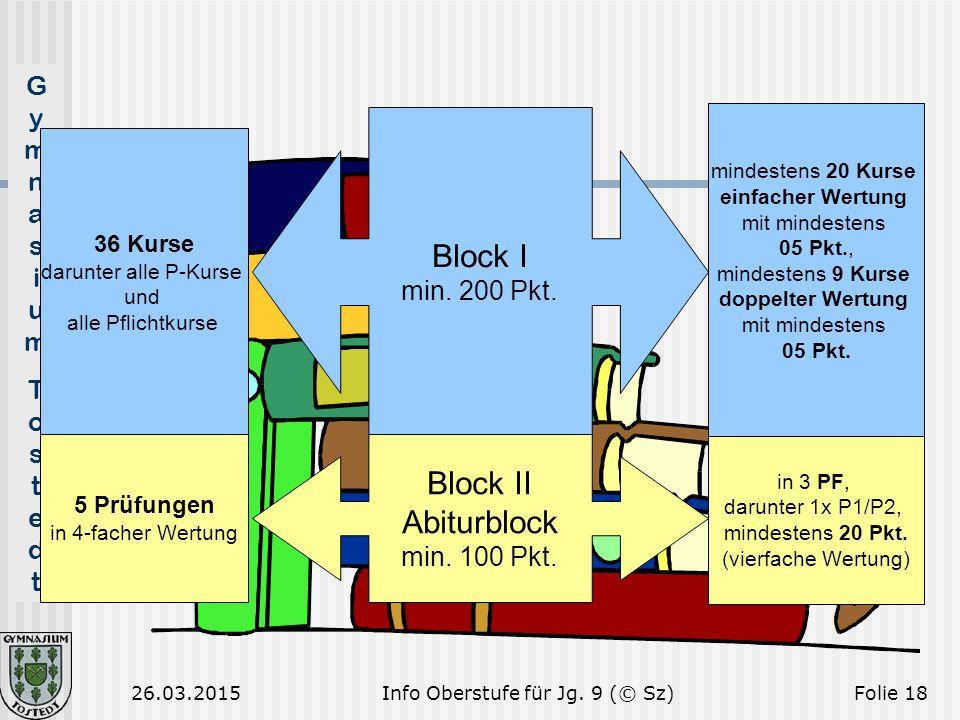 GymnasiumTostedtGymnasiumTostedt 26.03.2015Folie 18 Block I min. 200 Pkt. 36 Kurse darunter alle P-Kurse und alle Pflichtkurse mindestens 20 Kurse ein
