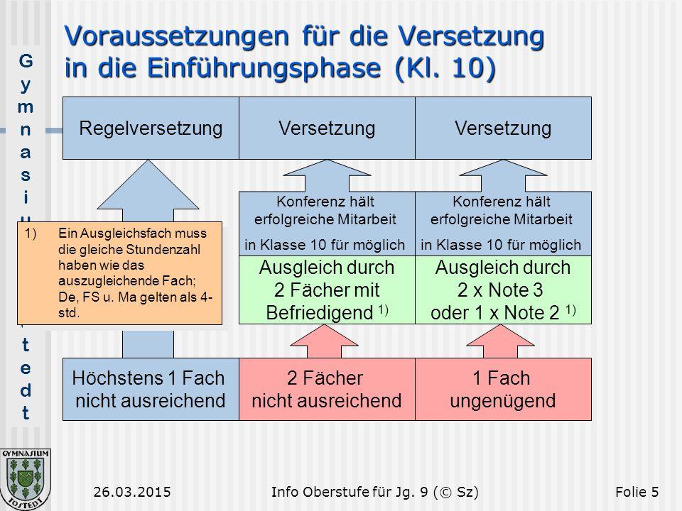 GymnasiumTostedtGymnasiumTostedt 26.03.2015Folie 5 Voraussetzungen für die Versetzung in die Einführungsphase (Kl. 10) Höchstens 1 Fach nicht ausreich