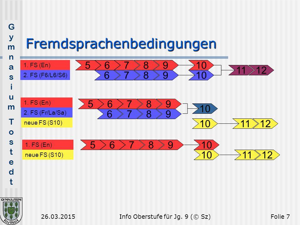 GymnasiumTostedtGymnasiumTostedt 26.03.2015Folie 7 Fremdsprachenbedingungen 5678910 11121112 10 1. FS (En) 2. FS (Fr/La/Sa) 1. FS (En) 2. FS (F6/L6/S6