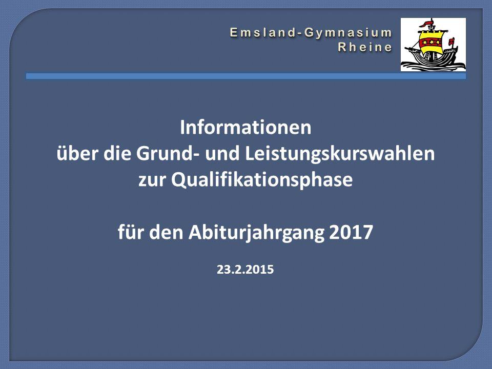 Informationen über die Grund- und Leistungskurswahlen zur Qualifikationsphase für den Abiturjahrgang 2017 23.2.2015