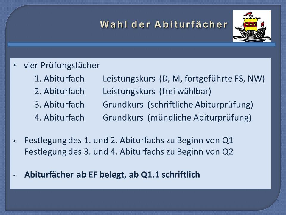 vier Prüfungsfächer 1. AbiturfachLeistungskurs (D, M, fortgeführte FS, NW) 2.
