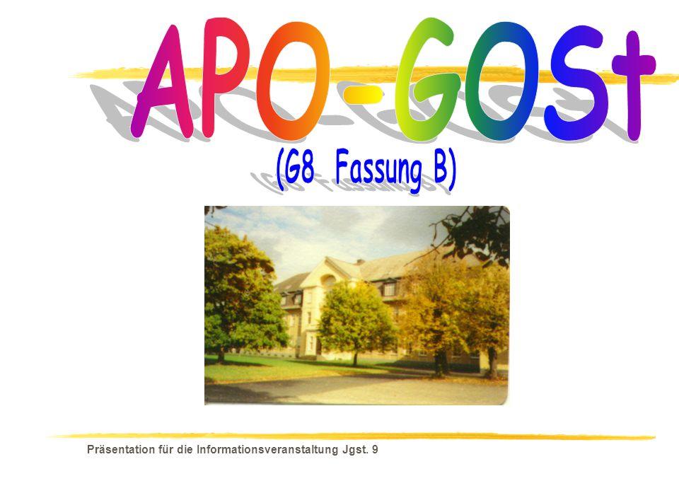 Präsentation für die Informationsveranstaltung Jgst. 9