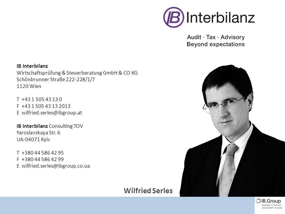 Kontakt IB Interbilanz Wirtschaftsprüfung & Steuerberatung GmbH & CO KG Schönbrunner Straße 222-228/1/7 1120 Wien T +43 1 505 43 13 0 F +43 1 505 43 1