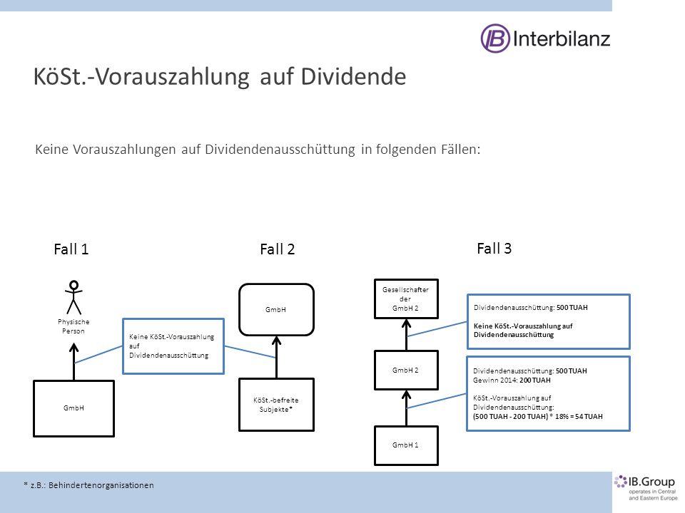 KöSt.-Vorauszahlung auf Dividende Keine Vorauszahlungen auf Dividendenausschüttung in folgenden Fällen: GmbH Physische Person Keine KöSt.-Vorauszahlun