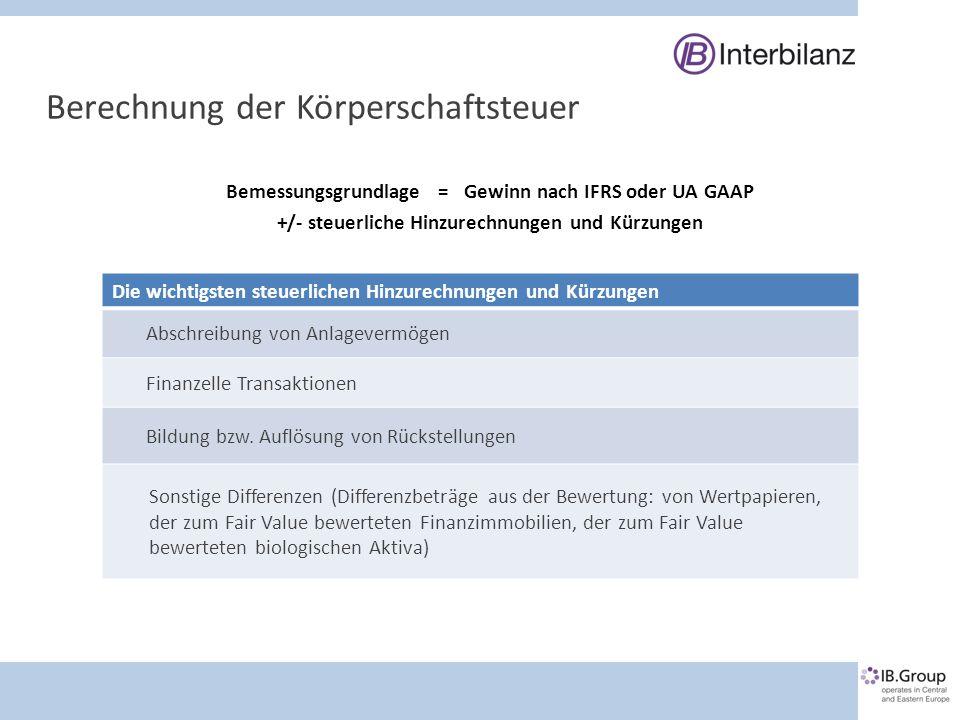 Kontakt IB Interbilanz Wirtschaftsprüfung & Steuerberatung GmbH & CO KG Schönbrunner Straße 222-228/1/7 1120 Wien T +43 1 505 43 13 0 F +43 1 505 43 13 2013 E wilfried.serles@ibgroup.at IB Interbilanz Consulting TOV Yaroslavskaya Str.