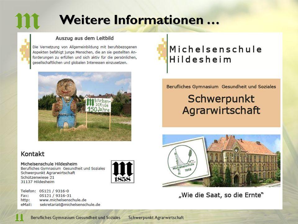 Berufliches Gymnasium Gesundheit und Soziales Schwerpunkt AgrarwirtschaftInformationsverarbeitung