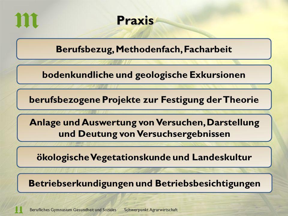 Berufliches Gymnasium Gesundheit und Soziales Schwerpunkt Agrarwirtschaft Agrar- u. Umweltechnologie