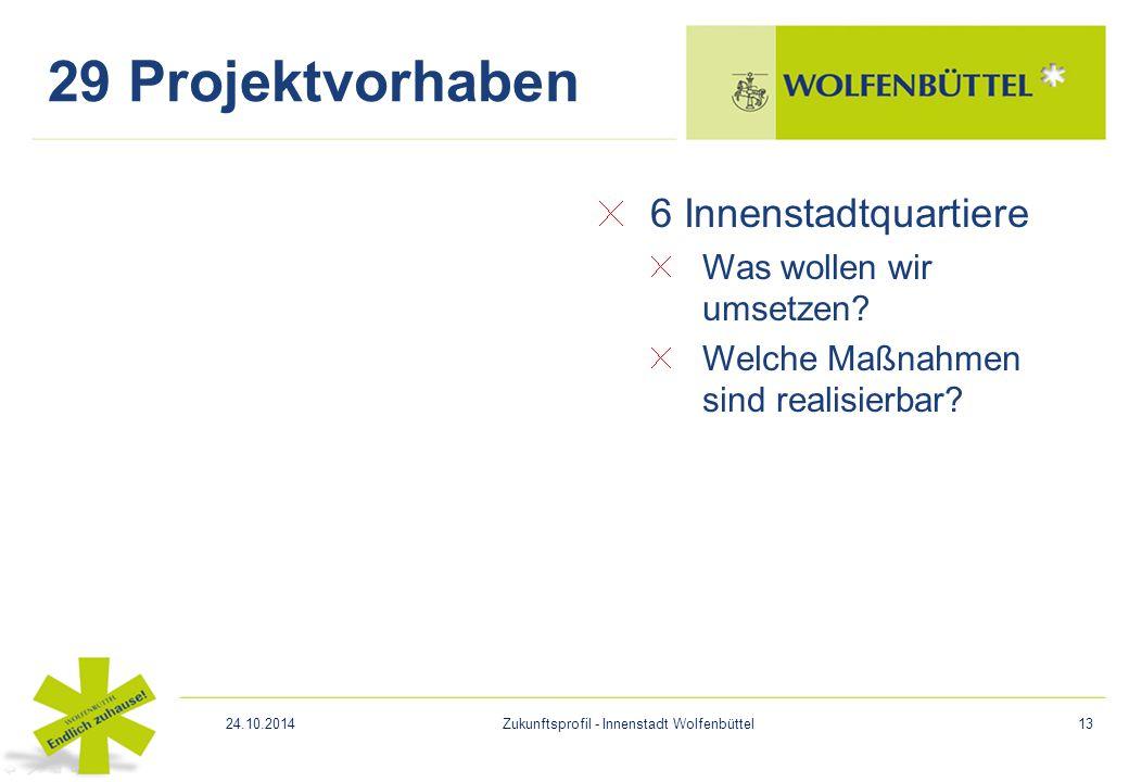 6 Innenstadtquartiere Was wollen wir umsetzen? Welche Maßnahmen sind realisierbar? 29 Projektvorhaben 24.10.2014Zukunftsprofil - Innenstadt Wolfenbütt
