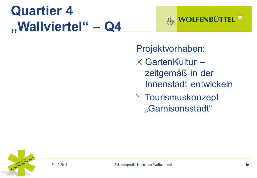 """Projektvorhaben: GartenKultur – zeitgemäß in der Innenstadt entwickeln Tourismuskonzept """"Garnisonsstadt"""" Quartier 4 """"Wallviertel"""" – Q4 24.10.2014Zukun"""