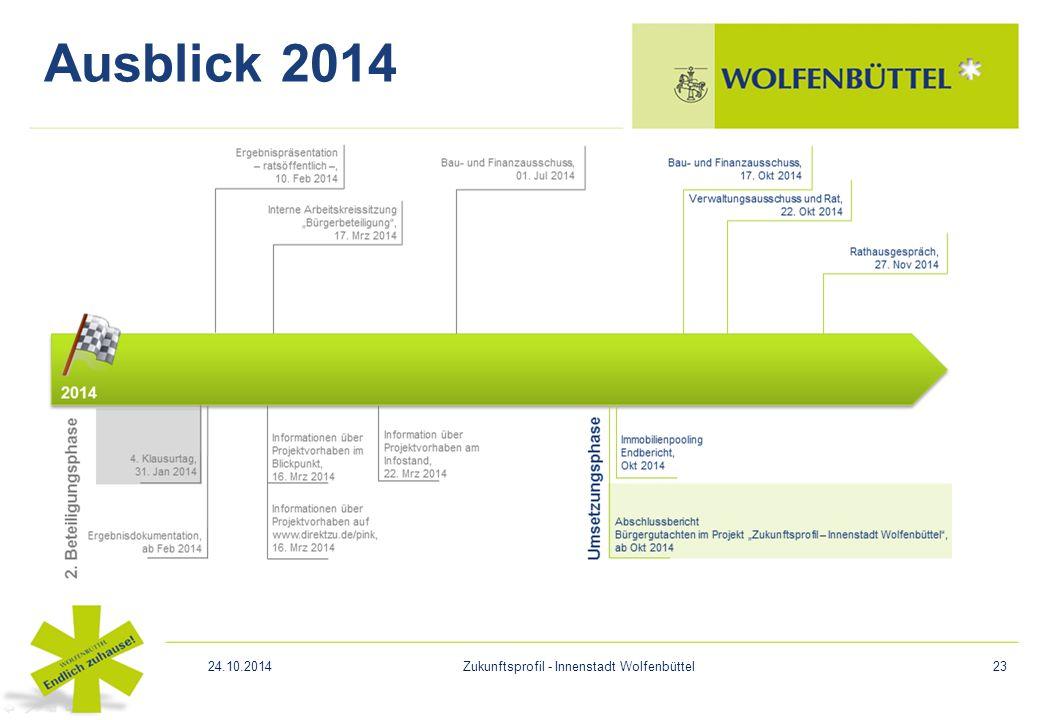 Ausblick 2014 24.10.2014Zukunftsprofil - Innenstadt Wolfenbüttel23
