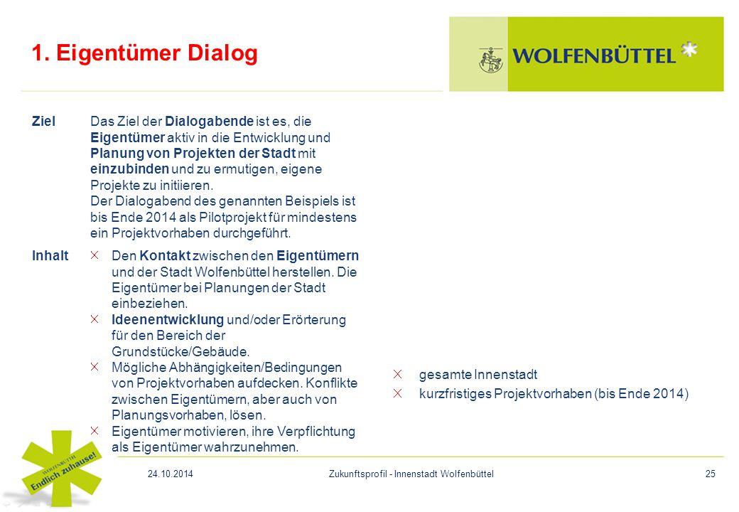 1. Eigentümer Dialog gesamte Innenstadt kurzfristiges Projektvorhaben (bis Ende 2014) ZielDas Ziel der Dialogabende ist es, die Eigentümer aktiv in di