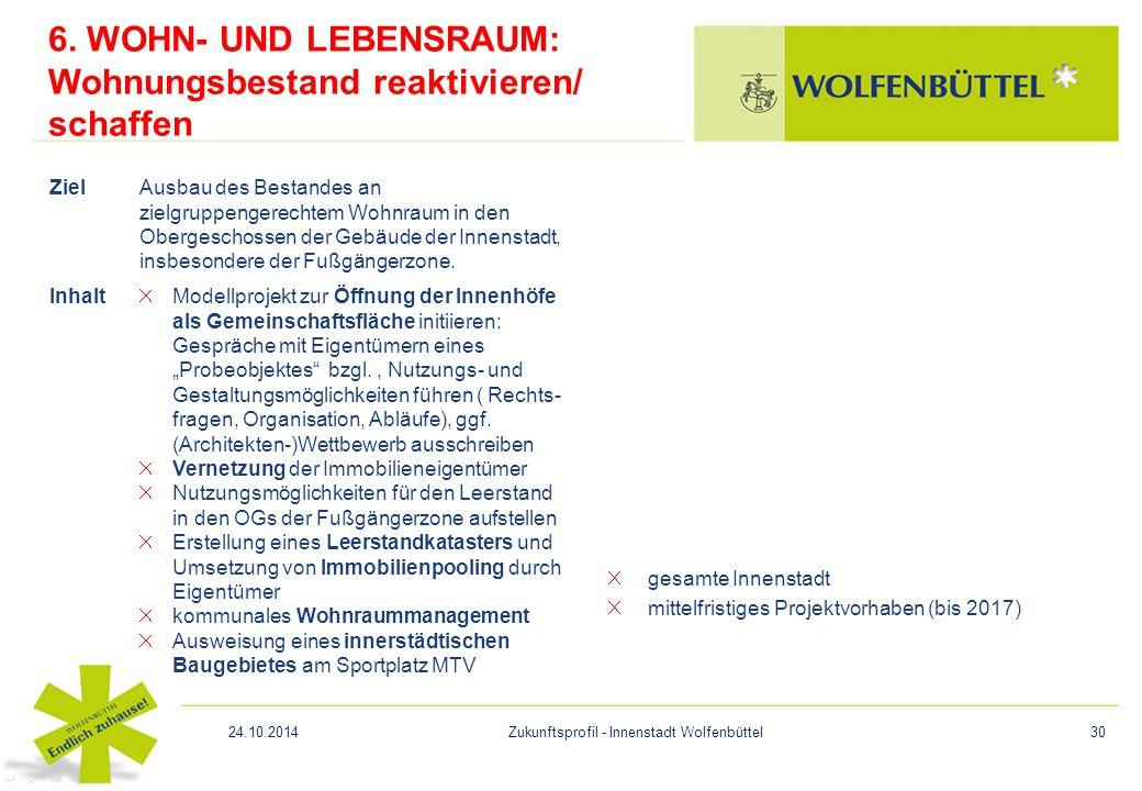 6. WOHN- UND LEBENSRAUM: Wohnungsbestand reaktivieren/ schaffen gesamte Innenstadt mittelfristiges Projektvorhaben (bis 2017) ZielAusbau des Bestandes