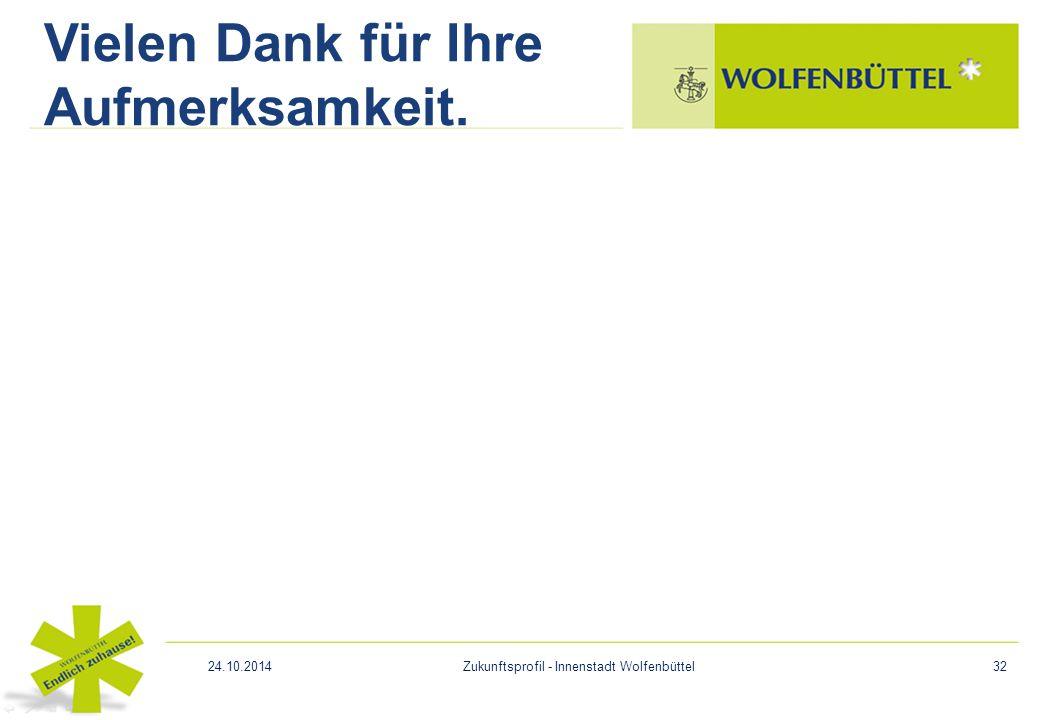 Vielen Dank für Ihre Aufmerksamkeit. 24.10.2014Zukunftsprofil - Innenstadt Wolfenbüttel32