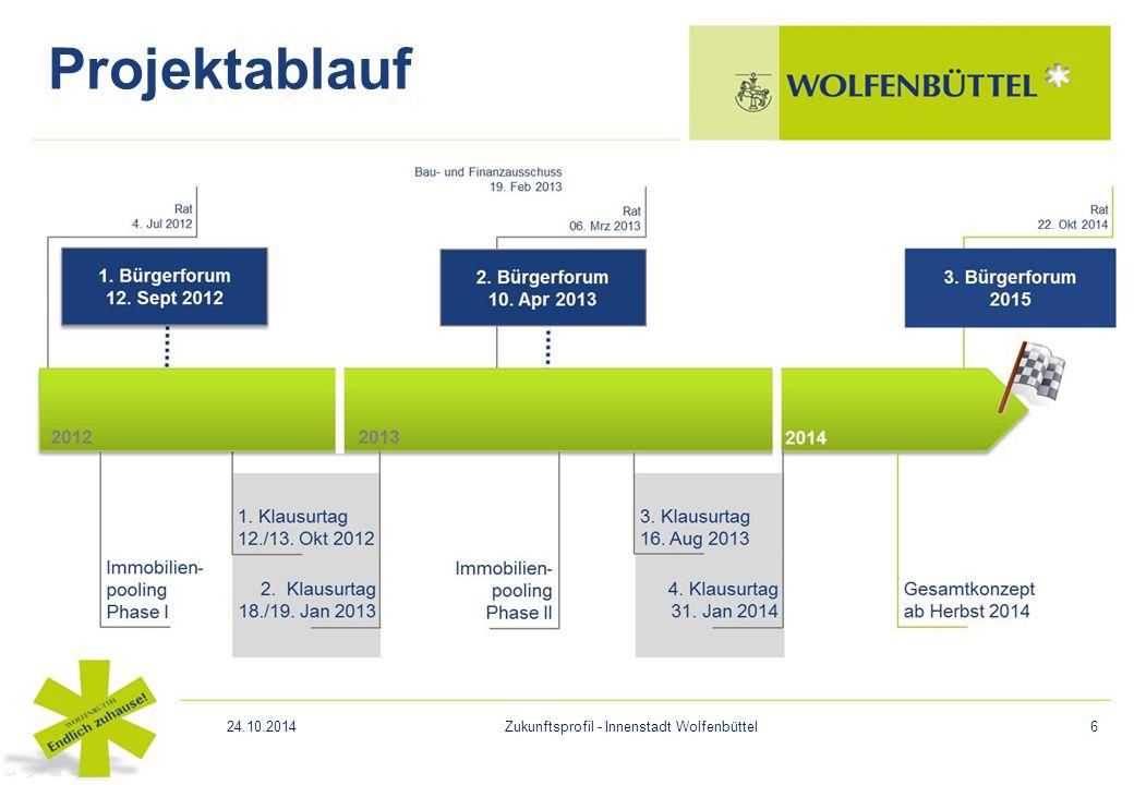 Projektablauf 24.10.2014Zukunftsprofil - Innenstadt Wolfenbüttel6