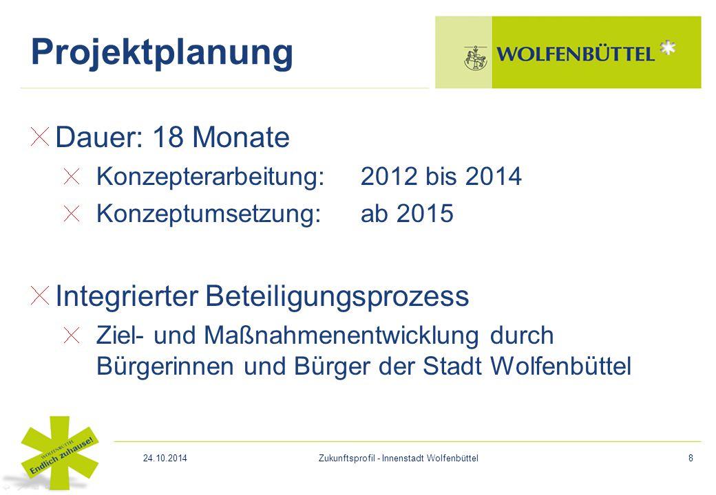 Dauer: 18 Monate Konzepterarbeitung: 2012 bis 2014 Konzeptumsetzung: ab 2015 Integrierter Beteiligungsprozess Ziel- und Maßnahmenentwicklung durch Bür