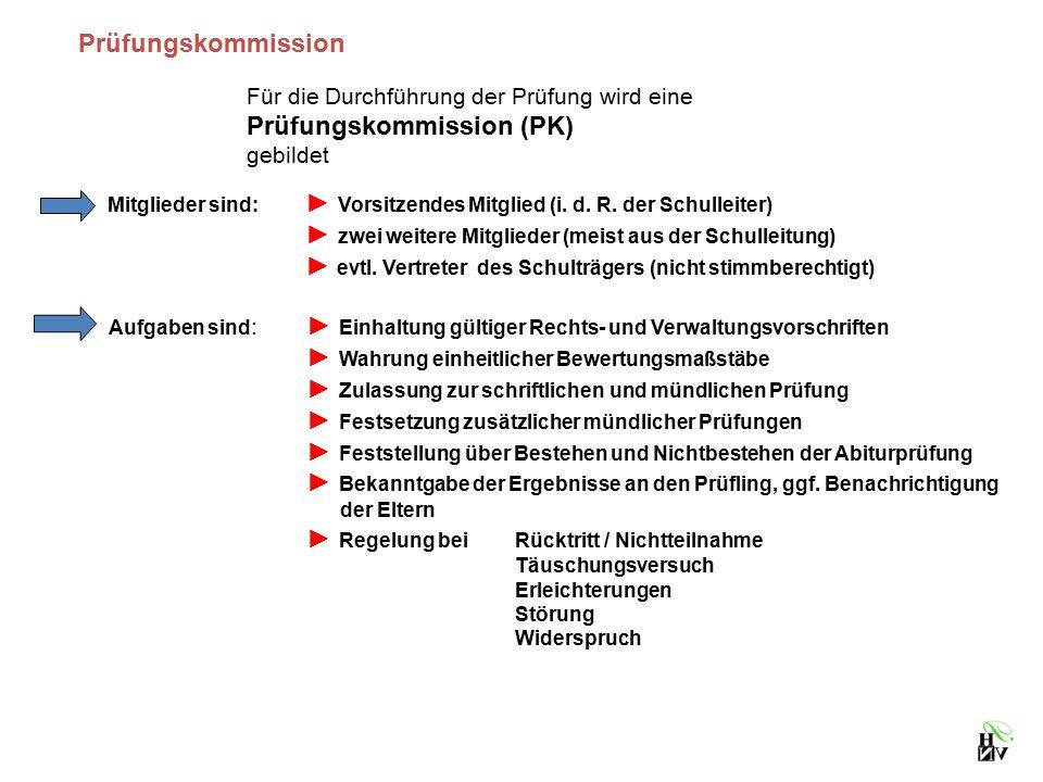 Prüfungskommission Für die Durchführung der Prüfung wird eine Prüfungskommission (PK) gebildet Mitglieder sind: ► Vorsitzendes Mitglied (i. d. R. der