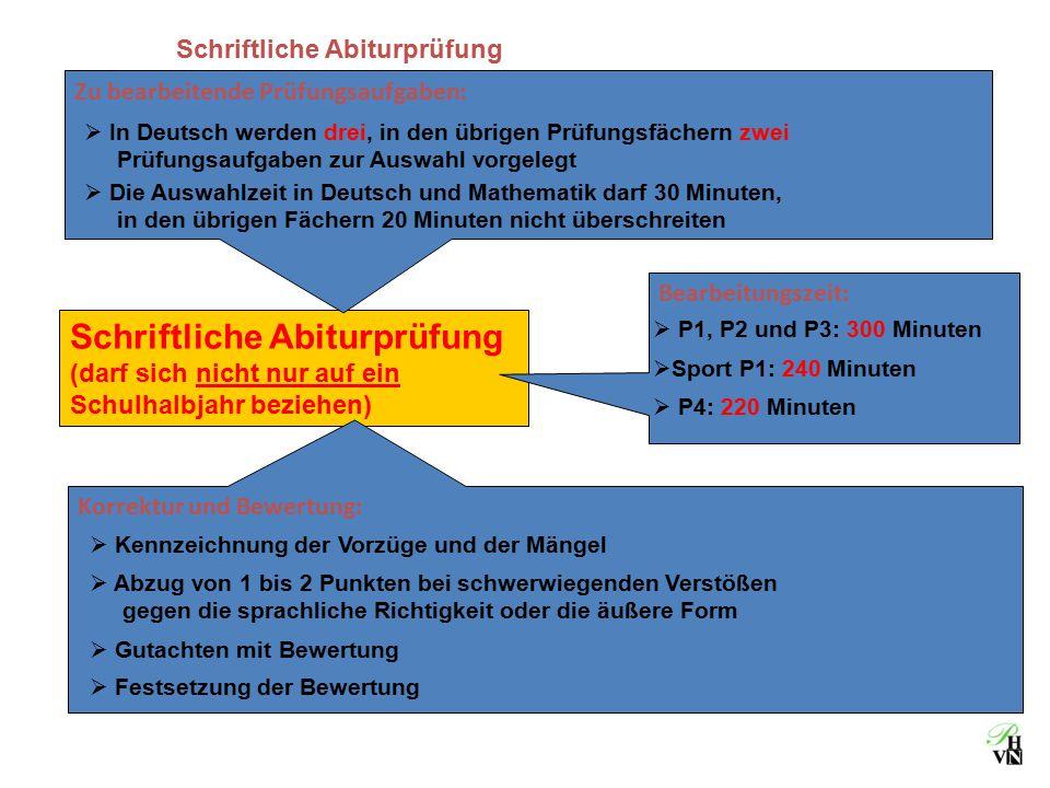 Schriftliche Abiturprüfung (darf sich nicht nur auf ein Schulhalbjahr beziehen) Zu bearbeitende Prüfungsaufgaben:  In Deutsch werden drei, in den übr