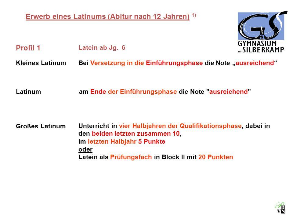 """Erwerb eines Latinums (Abitur nach 12 Jahren) 1) Profil 1 Latein ab Jg. 6 Kleines LatinumBei Versetzung in die Einführungsphase die Note """"ausreichend"""""""