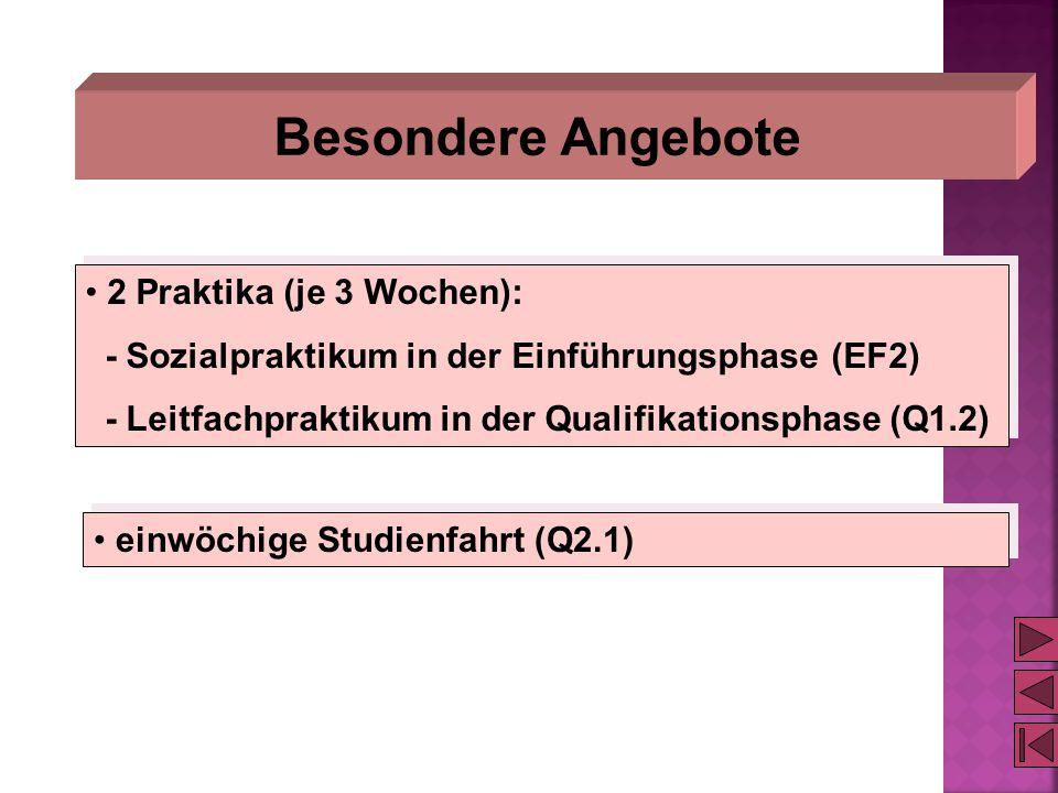 Besondere Angebote 2 Praktika (je 3 Wochen): - Sozialpraktikum in der Einführungsphase (EF2) - Leitfachpraktikum in der Qualifikationsphase (Q1.2) 2 P