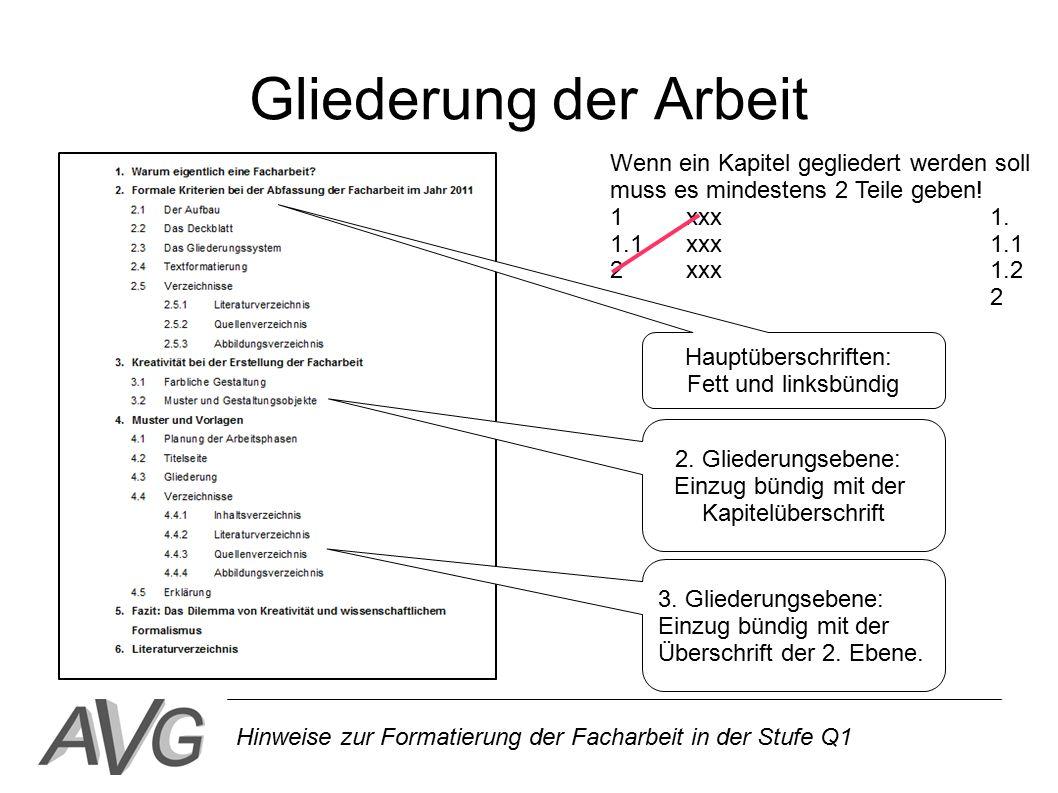 Hinweise zur Formatierung der Facharbeit in der Stufe Q1 Inhaltsverzeichnis Vollständige Darstellung sämtlicher Kapitel und Unterkapitel mit Seitenzahlen als Überblick über die Arbeit.