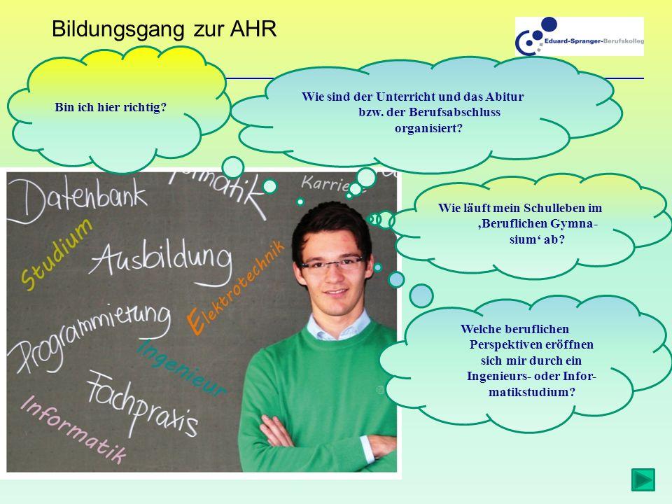 Bildungsgang zur AHR Wie sind der Unterricht und das Abitur bzw.