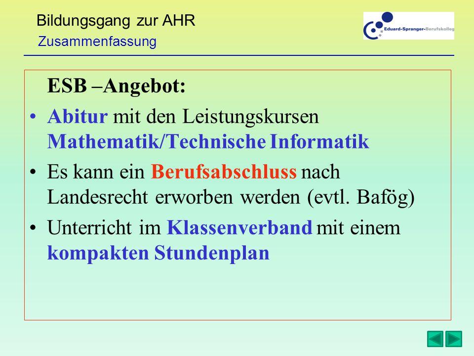 Bildungsgang zur AHR ESB –Angebot: Abitur mit den Leistungskursen Mathematik/Technische Informatik Es kann ein Berufsabschluss nach Landesrecht erworben werden (evtl.