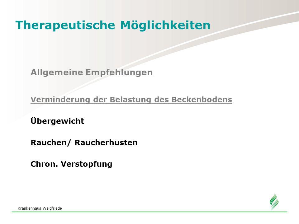Krankenhaus Waldfriede Therapeutische Möglichkeiten Allgemeine Empfehlungen Verminderung der Belastung des Beckenbodens Übergewicht Rauchen/ Raucherhusten Chron.