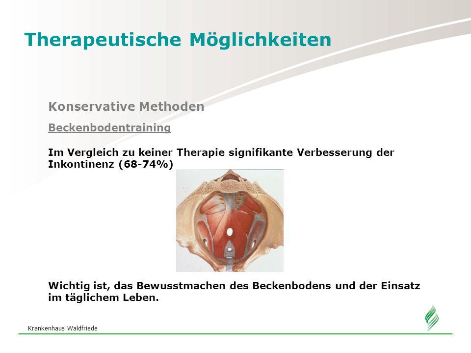 Krankenhaus Waldfriede Therapeutische Möglichkeiten Konservative Methoden Beckenbodentraining Im Vergleich zu keiner Therapie signifikante Verbesserung der Inkontinenz (68-74%) Wichtig ist, das Bewusstmachen des Beckenbodens und der Einsatz im täglichem Leben.