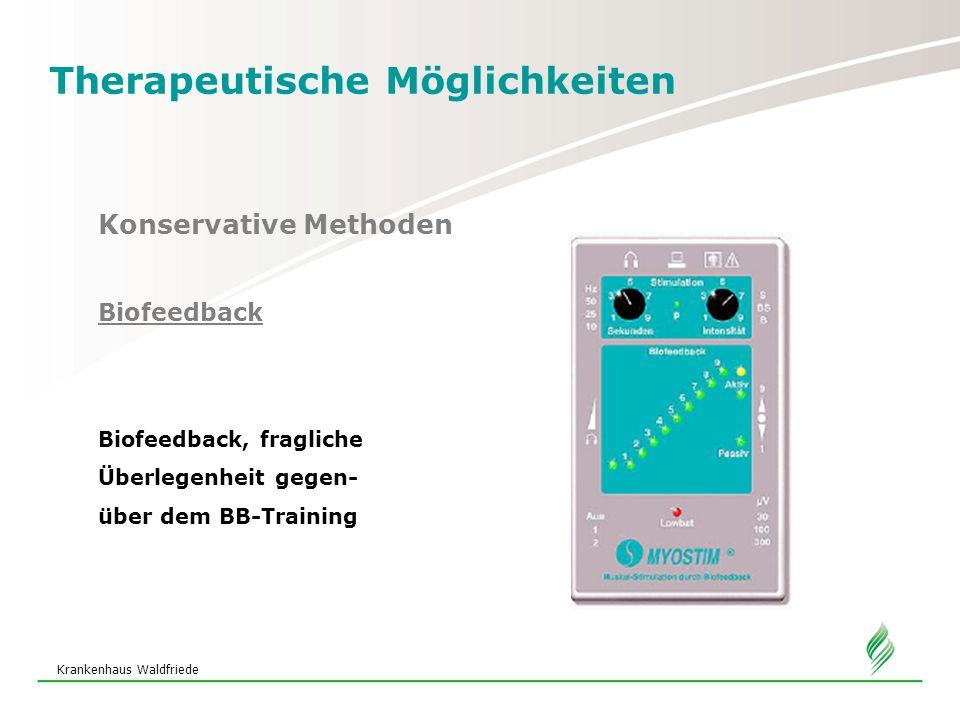 Krankenhaus Waldfriede Therapeutische Möglichkeiten Konservative Methoden Biofeedback Biofeedback, fragliche Überlegenheit gegen- über dem BB-Training