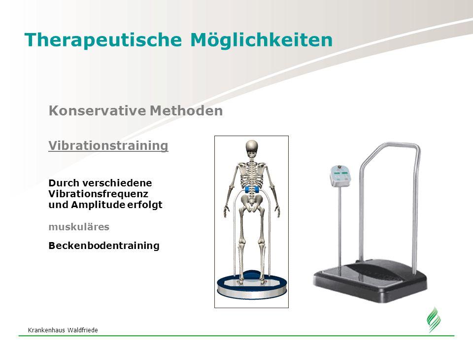 Krankenhaus Waldfriede Therapeutische Möglichkeiten Konservative Methoden Vibrationstraining Durch verschiedene Vibrationsfrequenz und Amplitude erfolgt muskuläres Beckenbodentraining