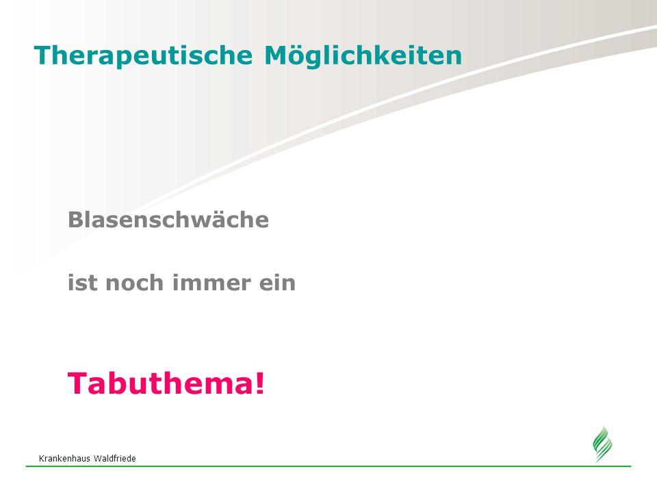 Krankenhaus Waldfriede Therapeutische Möglichkeiten Medikamentöse Therapie Sympathikomimetika –Belastungsinkontinenz Initiierung eines Sympathikus-Effektes, dadurch stärkeres Zusammenzuziehen der Muskulatur der Harnröhre, die Blase wird dicht verschlossen