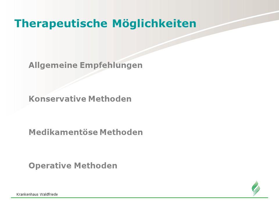 Krankenhaus Waldfriede Therapeutische Möglichkeiten Operative Methoden TVT – tension free vaginal tape Ergebnisse 80% Heilung 16% Verbesserung