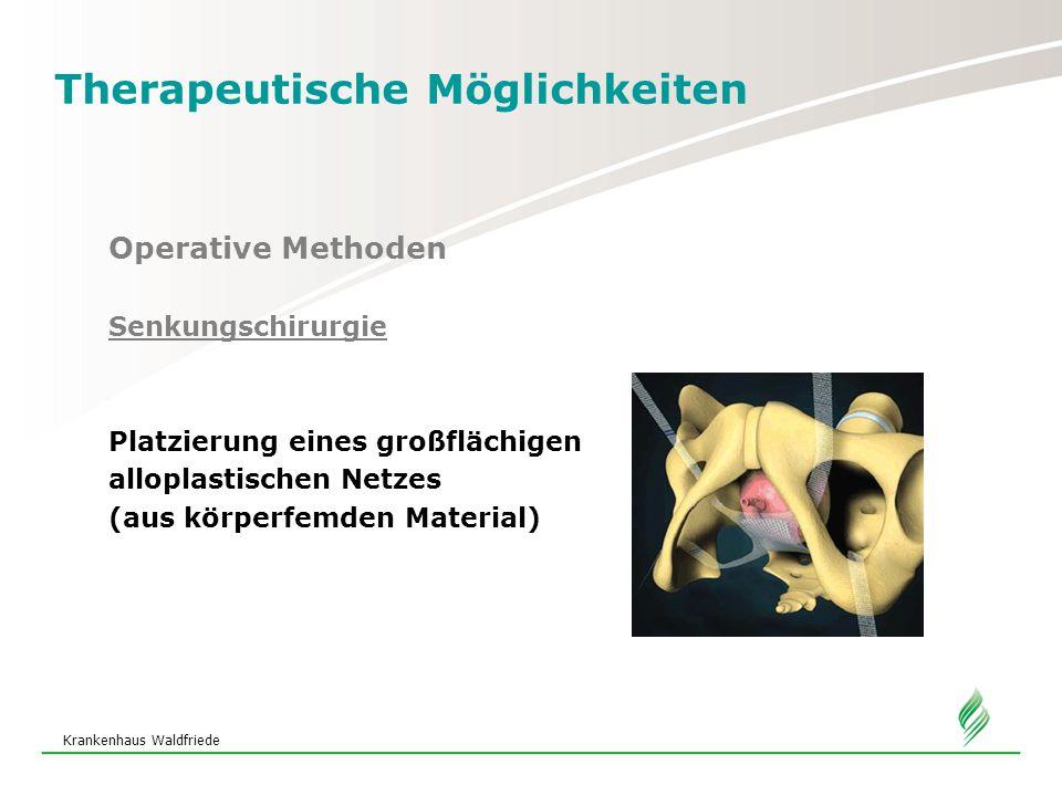 Krankenhaus Waldfriede Therapeutische Möglichkeiten Operative Methoden Senkungschirurgie Platzierung eines großflächigen alloplastischen Netzes (aus körperfemden Material)