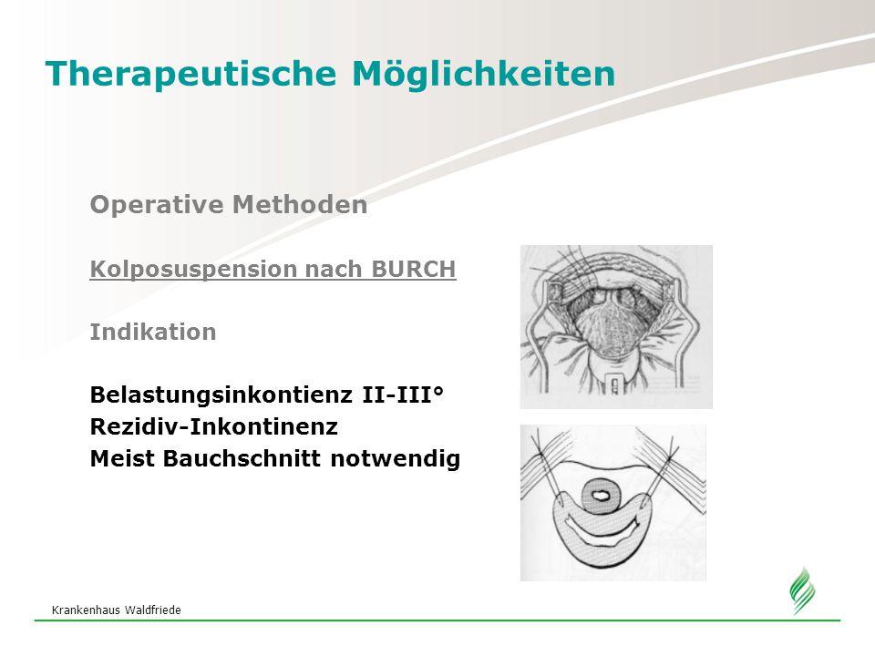 Krankenhaus Waldfriede Therapeutische Möglichkeiten Operative Methoden Kolposuspension nach BURCH Indikation Belastungsinkontienz II-III° Rezidiv-Inkontinenz Meist Bauchschnitt notwendig