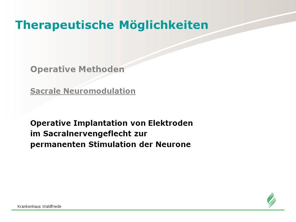 Krankenhaus Waldfriede Therapeutische Möglichkeiten Operative Methoden Sacrale Neuromodulation Operative Implantation von Elektroden im Sacralnervengeflecht zur permanenten Stimulation der Neurone