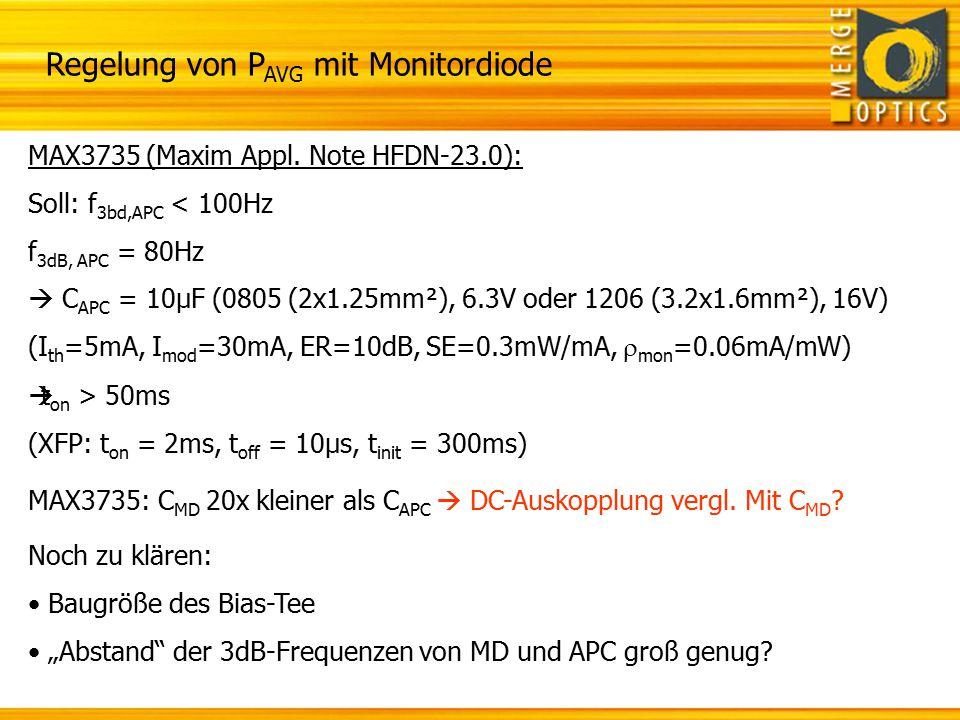 Regelung der Laserleistung ohne Monitordiode Vcc TxD TX_Dis I²C
