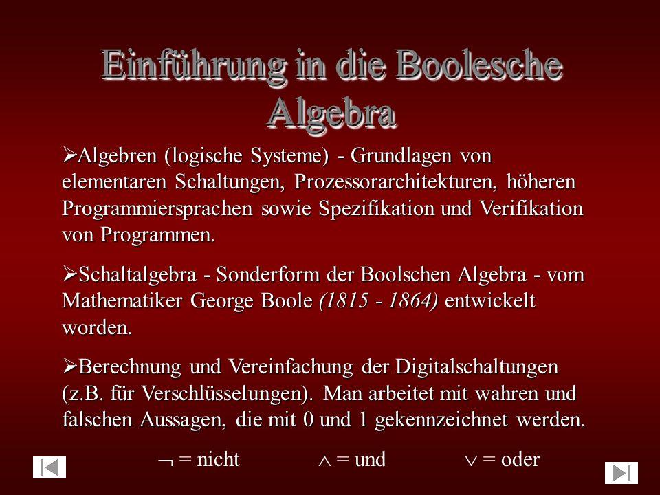 Boolesche Algebra Boolesche Algebra  Einführung in die Boolesche Algebra  George Boole  Operationen der Booleschen Algebra  Gesetze der Booleschen Algebra  Funktionen über der Booleschen Algebra (x  y)  (  x   y) = [(x  y)   x]  [(x  y)   y] = [(x   y)  y]  [x   y)] = (1  y)  (x  1) = 1  1 = 1 (x  y)  (  x   y) = [x  (  x   y)]  [y  (  x   y)] = [(x   x)   y]  [(y   y)   x] = (0   y)  (0   x) = 0  0 = 0