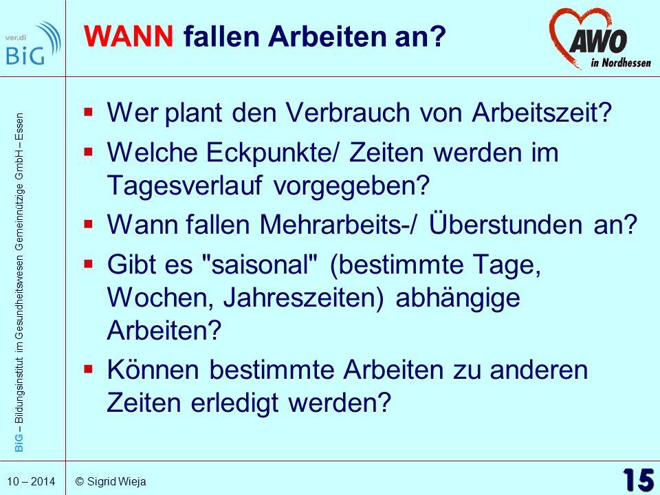 BiG – Bildungsinstitut im Gesundheitswesen Gemeinnützige GmbH – Essen 15 10 – 2014 © Sigrid Wieja WANN fallen Arbeiten an?  Wer plant den Verbrauch v