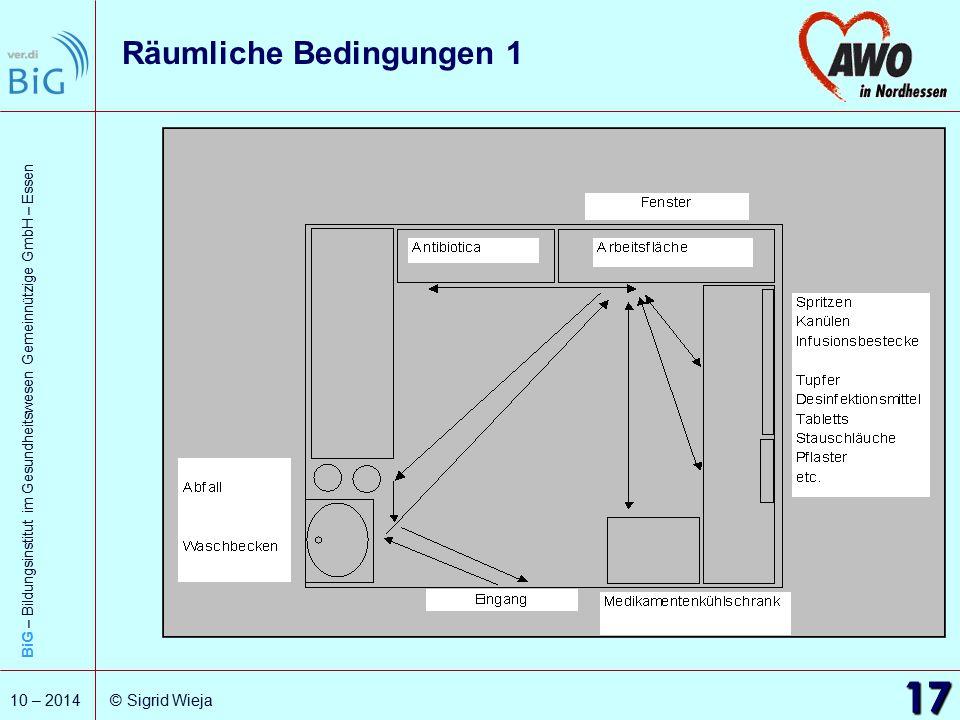 BiG – Bildungsinstitut im Gesundheitswesen Gemeinnützige GmbH – Essen 17 10 – 2014 © Sigrid Wieja Räumliche Bedingungen 1 17