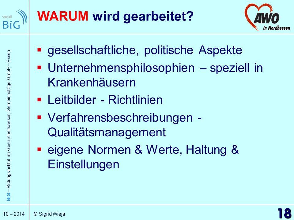 BiG – Bildungsinstitut im Gesundheitswesen Gemeinnützige GmbH – Essen 18 10 – 2014 © Sigrid Wieja 18 WARUM wird gearbeitet?  gesellschaftliche, polit
