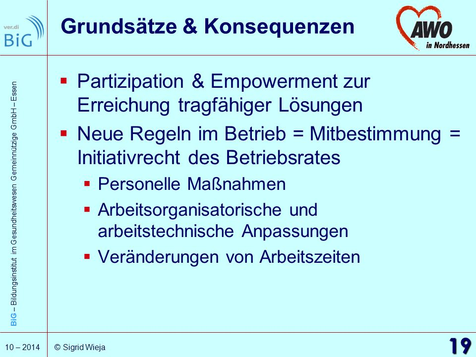 BiG – Bildungsinstitut im Gesundheitswesen Gemeinnützige GmbH – Essen 19 10 – 2014 © Sigrid Wieja Grundsätze & Konsequenzen  Partizipation & Empowerm