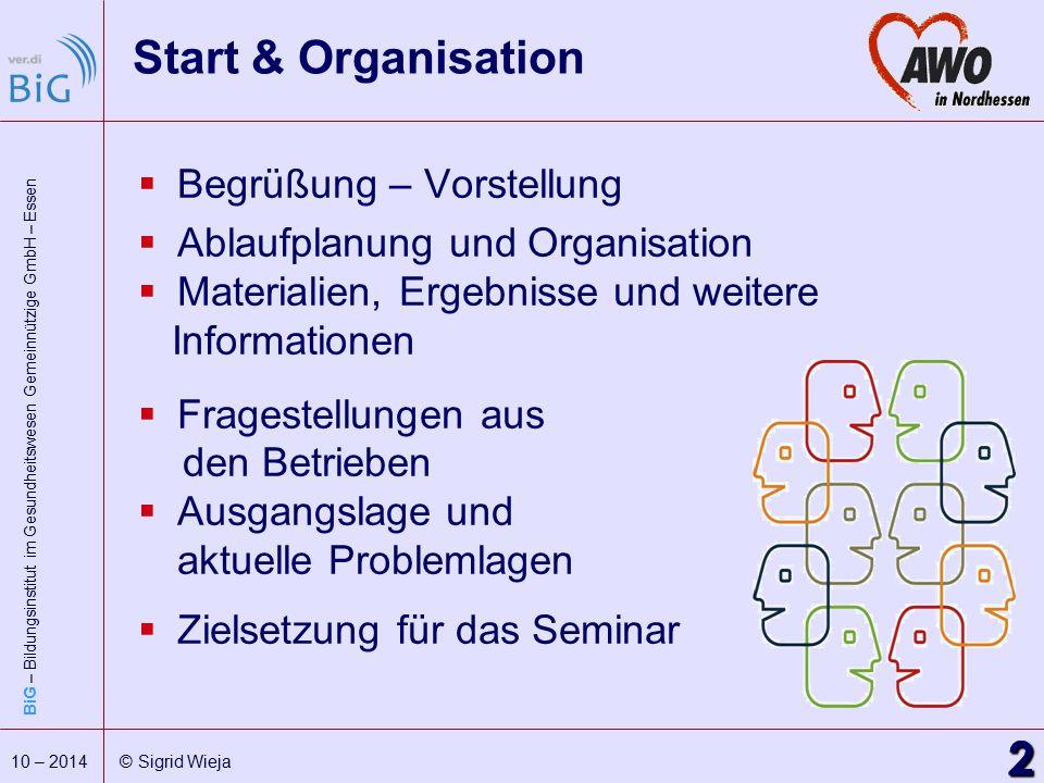 BiG – Bildungsinstitut im Gesundheitswesen Gemeinnützige GmbH – Essen 2 10 – 2014 © Sigrid Wieja Start & Organisation  Begrüßung – Vorstellung  Abla