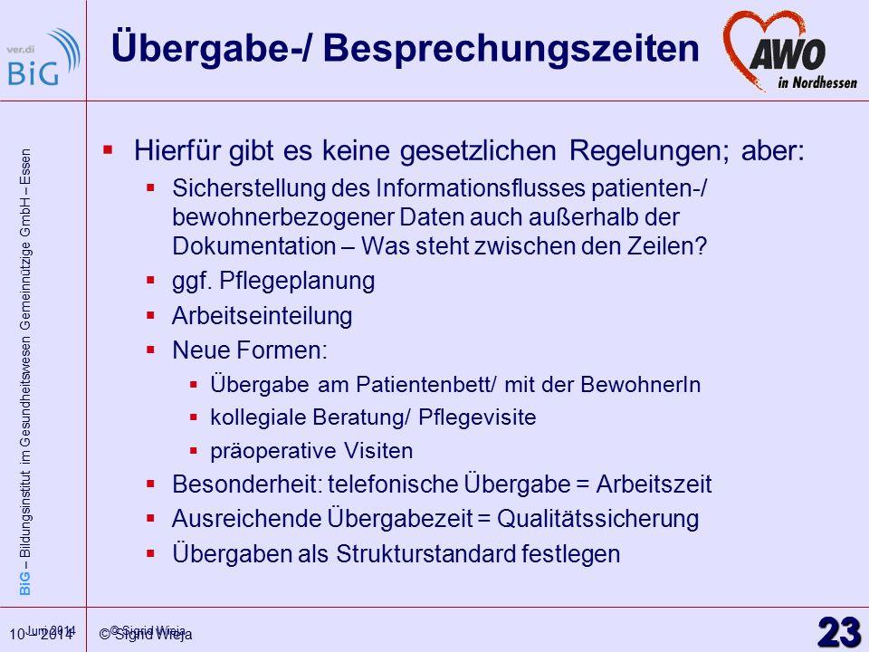 BiG – Bildungsinstitut im Gesundheitswesen Gemeinnützige GmbH – Essen 23 10 – 2014 © Sigrid Wieja 23 Juni 2014 © Sigrid Wieja Übergabe-/ Besprechungsz