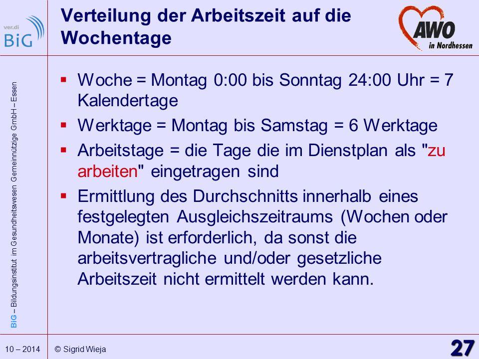 BiG – Bildungsinstitut im Gesundheitswesen Gemeinnützige GmbH – Essen 27 10 – 2014 © Sigrid Wieja Verteilung der Arbeitszeit auf die Wochentage  Woch