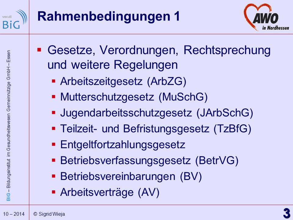 BiG – Bildungsinstitut im Gesundheitswesen Gemeinnützige GmbH – Essen 3 10 – 2014 © Sigrid Wieja Rahmenbedingungen 1  Gesetze, Verordnungen, Rechtspr