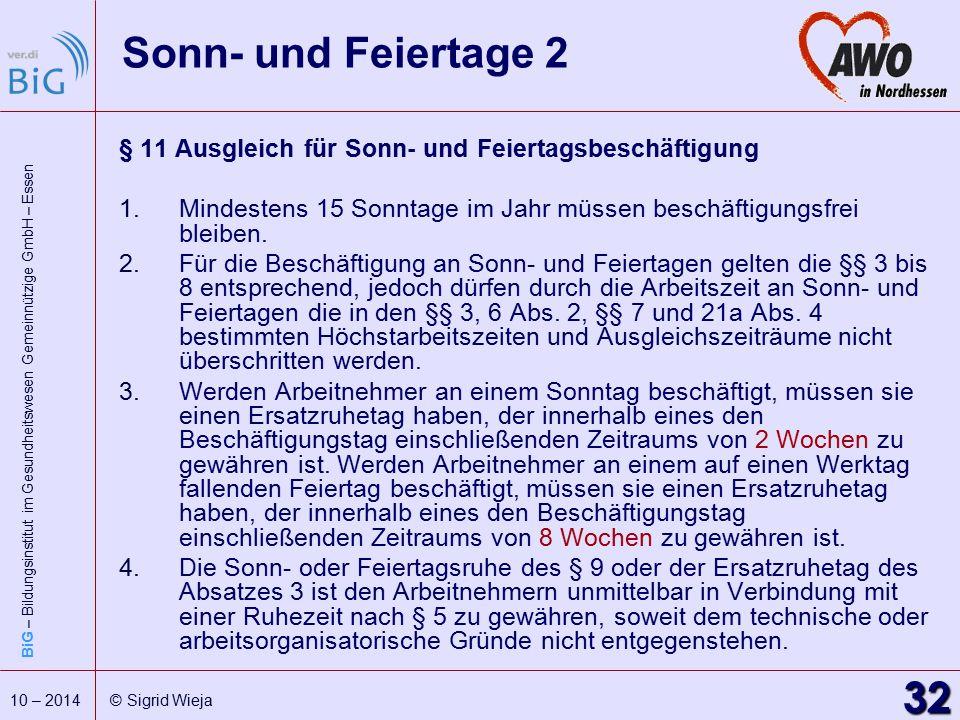 BiG – Bildungsinstitut im Gesundheitswesen Gemeinnützige GmbH – Essen 32 10 – 2014 © Sigrid Wieja Sonn- und Feiertage 2 § 11 Ausgleich für Sonn- und F