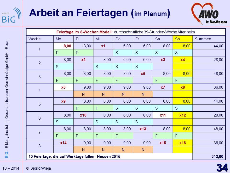BiG – Bildungsinstitut im Gesundheitswesen Gemeinnützige GmbH – Essen 34 10 – 2014 © Sigrid Wieja Arbeit an Feiertagen ( im Plenum ) Feiertage im 8-Wo