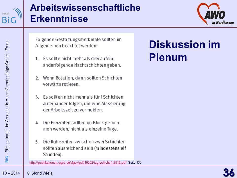 BiG – Bildungsinstitut im Gesundheitswesen Gemeinnützige GmbH – Essen 36 10 – 2014 © Sigrid Wieja Arbeitswissenschaftliche Erkenntnisse Diskussion im