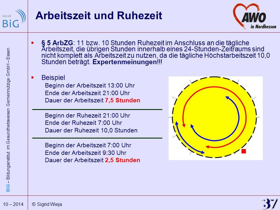 BiG – Bildungsinstitut im Gesundheitswesen Gemeinnützige GmbH – Essen 37 10 – 2014 © Sigrid Wieja Arbeitszeit und Ruhezeit  § 5 ArbZG: 11 bzw. 10 Stu