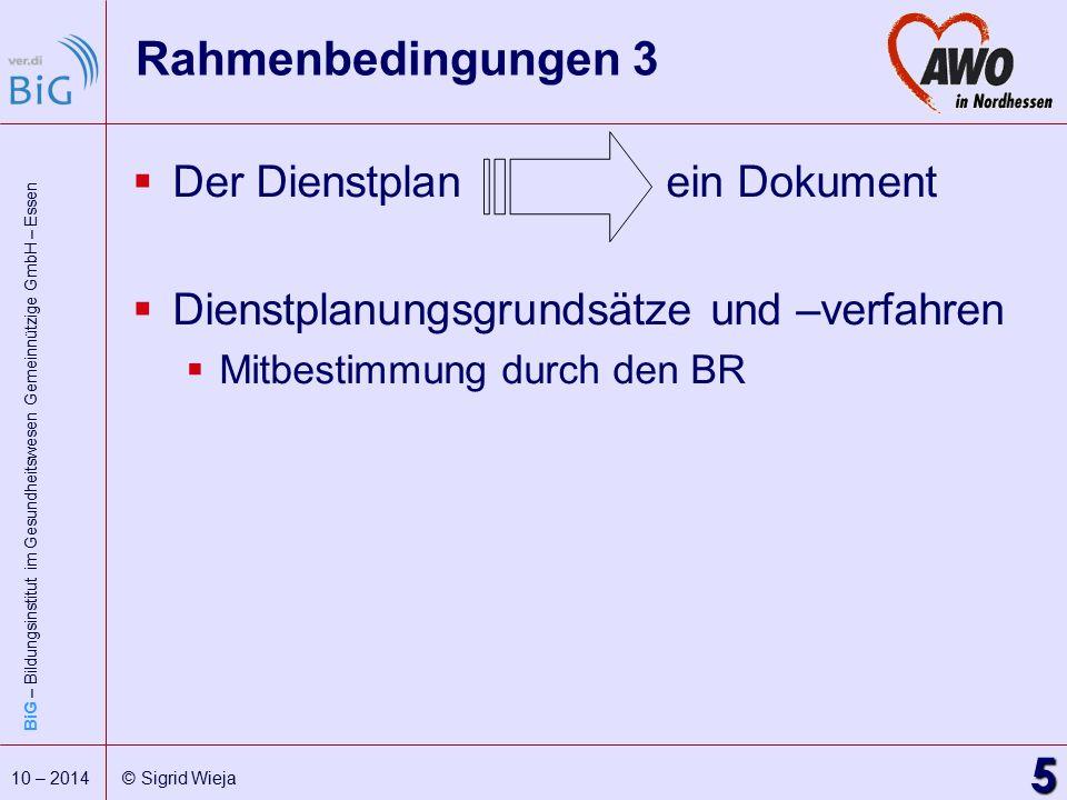 BiG – Bildungsinstitut im Gesundheitswesen Gemeinnützige GmbH – Essen 5 10 – 2014 © Sigrid Wieja Rahmenbedingungen 3  Der Dienstplanein Dokument  Di